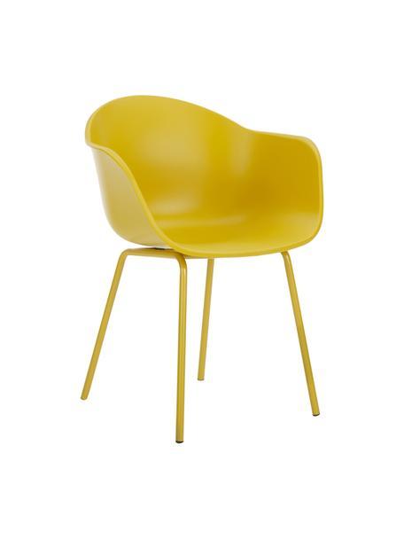 Krzesło z podłokietnikami z tworzywa sztucznego Claire, Nogi: metal malowany proszkowo, Siedzisko: żółty Nogi: żółty, matowy, S 60 x G 54 cm
