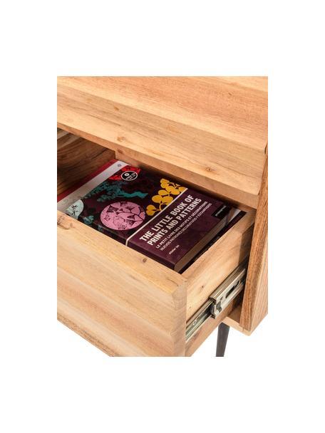 Szafka nocna z drewna z szufladami Delsie, Drewno, metal, Beżowy, czarny, S 40 x W 55 cm