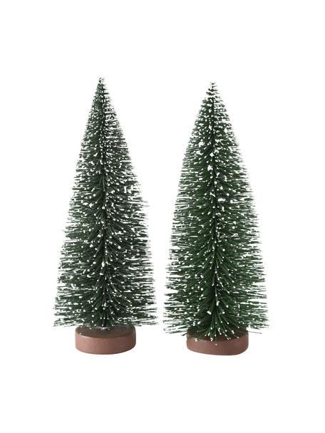 Decoratieve boompjes Tarvo in groen H 22 cm, 2 stuks, Kunststof, Groen, wit, bruin, Ø 9  x H 22 cm