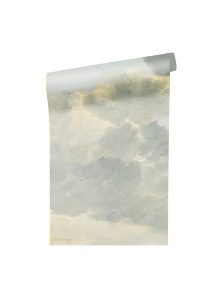 Carta da parati Golden Age Clouds, Pelo ecologico e biodegradabile, Grigio, beige opaco, Larg. 196 x Alt. 280 cm