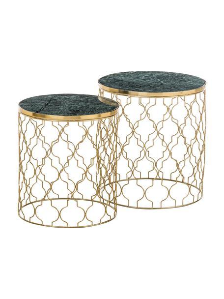 Komplet stolików pomocniczych z marmuru Blake, 2 elem., Blat: zielony marmur Stelaż: odcienie złotego, błyszczący, Komplet z różnymi rozmiarami