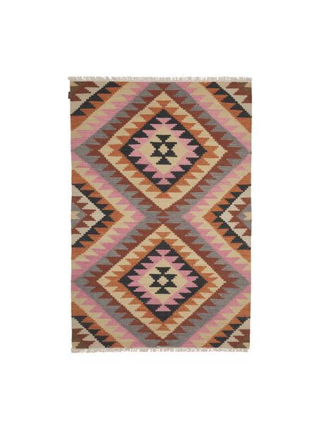 Handgeweven Kelim vloerkleed Zenda van wol, 100% wol, Multicolour, B 120 x L 180 cm (maat S)