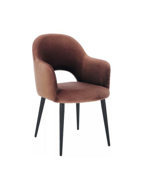Krzesło z podłokietnikami z aksamitu Rachel, Tapicerka: aksamit (poliester) Dzięk, Nogi: metal malowany proszkowo, Aksamitny brązowy, S 56 x G 70 cm