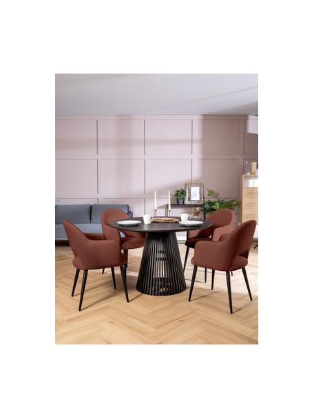 Sedia con braccioli in velluto marrone Rachel, Rivestimento: velluto (poliestere) 50.0, Gambe: metallo verniciato a polv, Velluto marrone, Larg. 56 x Alt. 70 cm