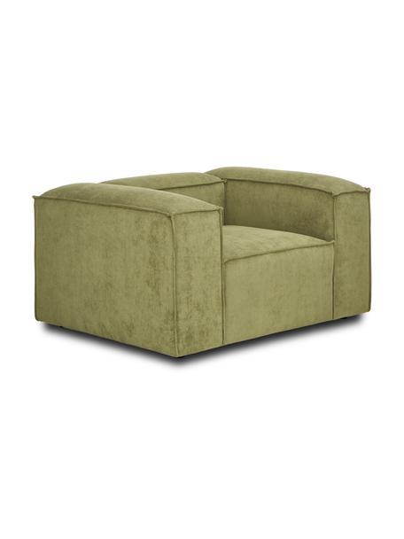 Sessel Lennon in Grün aus Cord, Bezug: Cord (92% Polyester, 8% P, Gestell: Massives Kiefernholz, Spe, Füße: Kunststoff Die Füße befin, Cord Grün, B 130 x T 101 cm