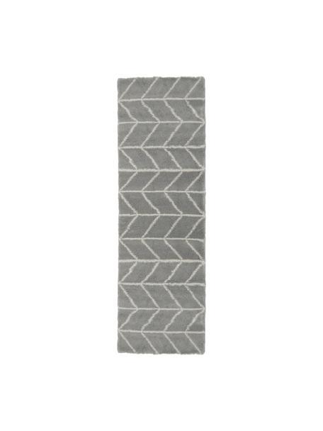 Hochflor-Läufer Cera in Grau/Creme, Flor: 100% Polypropylen, Grau, Cremeweiß, 80 x 250 cm