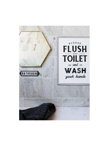 Wandschild Bathroom, Metall, beschichtet, Schwarz, Weiss, 14 x 3 cm