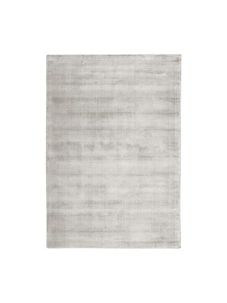 Alfombra artesanal de viscosa Jane, Parte superior: 100%viscosa, Reverso: 100%algodón, Gris claro, beige, An 90 x L 150 cm (Tamaño XS)