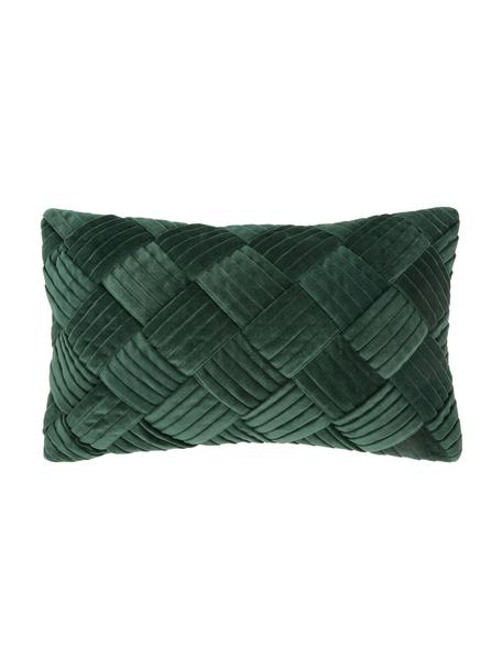 Federa arredo in velluto verde scuro con motivo a rilievo Sina, Velluto (100% cotone), Verde, Larg. 30 x Lung. 50 cm