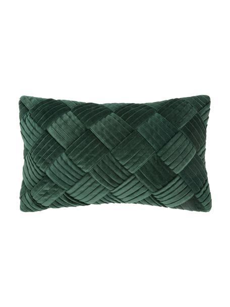 Fluwelen kussenhoes Sina in donkergroen met structuurpatroon, Fluweel (100% katoen), Groen, 30 x 50 cm