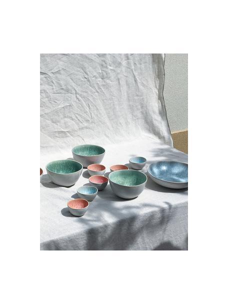 Ręcznie malowana miseczka Areia, 2 szt., Kamionka, Jasny niebieski, złamana biel, jasny beżowy, Ø 15 x W 8 cm