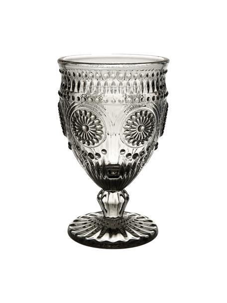 Copas de vino con relieve Chambord, 6uds., Vidrio, Gris, Ø 9 x Al 14 cm