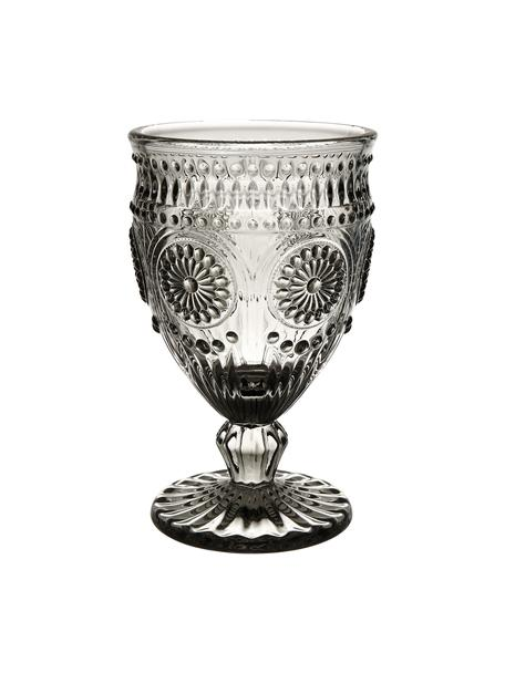 Weingläser Chambord mit Blumen-Rlief, 6 Stück, Glas, Grau, Ø 9 x H 14 cm