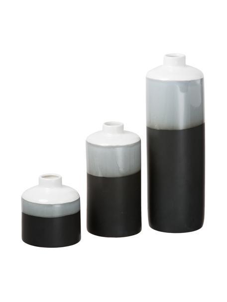Vazenset Brixa, 3-delig, Porselein, Zwart, grijs, mat wit, Set met verschillende formaten