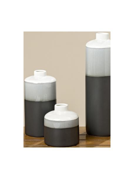 Set 3 vasi decorativi in gres Brixa, Porcellana, Nero, grigio, bianco opaco, Set in varie misure
