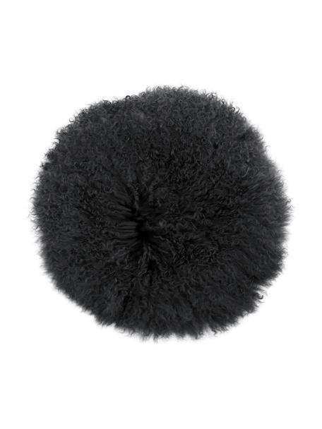 Cuscino sedia rotondo in pelle di agnello a pelo lungo riccio Ella, Retro: 100% poliestere, Grigio scuro, Ø 37 cm