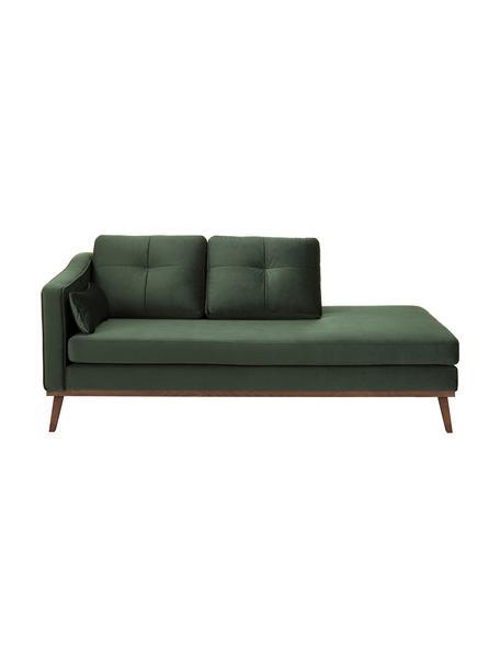 Fluwelen chaise longue Alva in groen met beukenhout-poten, Bekleding: fluweel (hoogwaardig poly, Frame: massief grenenhout, Poten: massief gebeitst beukenho, Olijfkleurig, B 193 x D 94 cm
