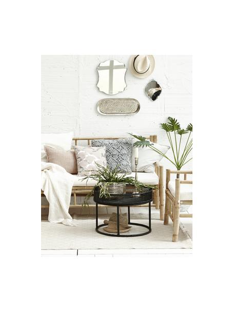 Sofa z drewna bambusowego z tapicerowanym siedziskiem (3-osobowa), Stelaż: drewno bambusowe, surowe, Drewno bambusowe, biały, S 180 x G 70 cm
