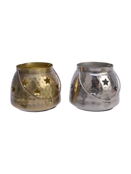 Lantaarnset Gloria, 2-delig, Metaal, Messingkleurig, zilverkleurig, Ø 10 x H 8 cm