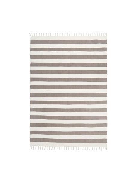 Gestreepte katoenen vloerkleed Blocker in grijs/wit, handgeweven, 100% katoen, Grijs, B 50 x L 80 cm (maat XXS)