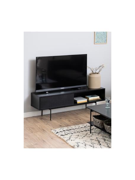 Tv-meubel Angus in zwart, Frame: MDF, met melamine gecoat, Poten: gecoat metaal, Zwart, 140 x 45 cm