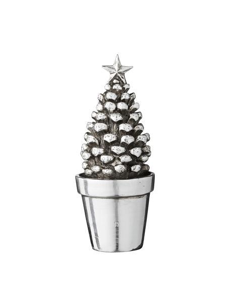 Handgefertigtes Deko-Objekt Tree H 17 cm, Kunststoff, Silberfarben, Ø 7 x H 17 cm