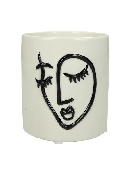 Portavaso motivo viso in pietra dolomitica Face, Dolomite, Bianco latteo, nero, Ø 11 x Alt. 13 cm