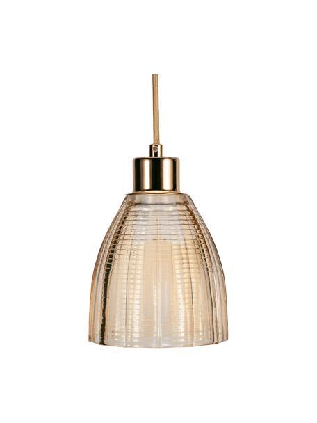 Lampada a sospensione in vetro Gleaming Gold, Paralume: vetro, Baldacchino: metallo, Decorazione: metallo, Dorato, ambrato, Ø 13 x Alt. 14 cm