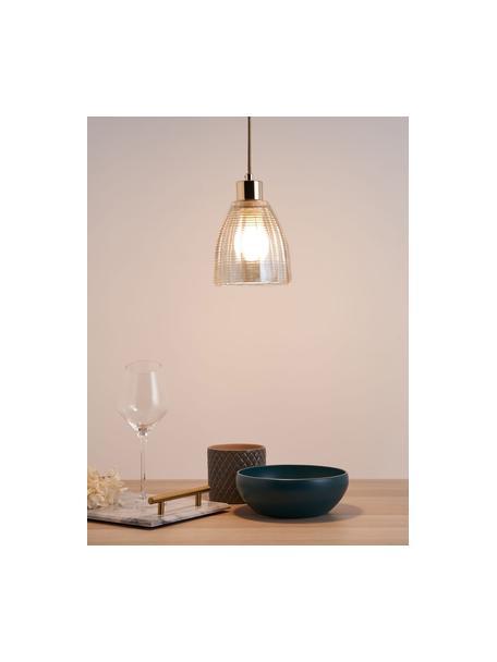 Kleine hanglamp Gleaming Gold van glas, Lampenkap: glas, Baldakijn: metaal, Decoratie: metaal, Goudkleurig, amberkleurig, Ø 13 x H 14 cm