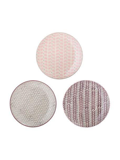 Komplet talerzy śniadaniowych Maya, 3 elem., Kamionka, Złamana biel, zielony, blady różowy, purpurowy, Ø 22 cm