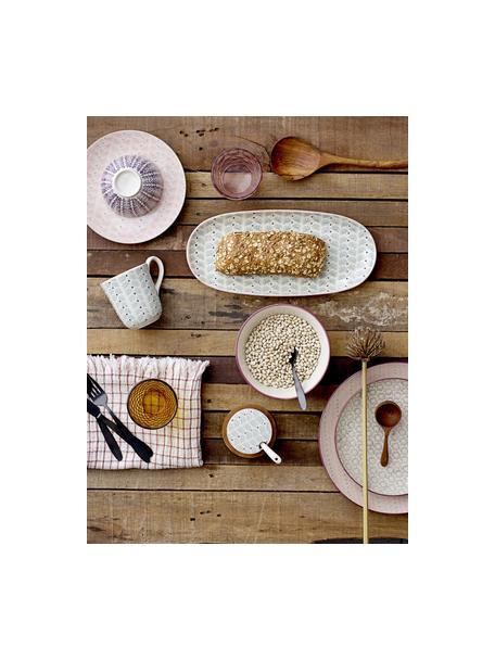 Frühstücksteller Maya mit kleinem Muster, 3er-Set, Steingut, Gebrochenes Weiß, Grün, Rosa, Lila, Ø 22 cm