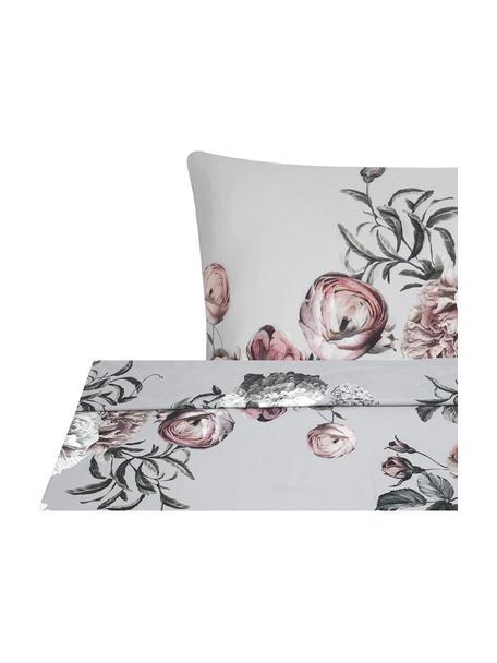 Parure letto in raso di cotone Blossom, Grigio, 240 x 300 cm + 2 federe 50 x 80 cm