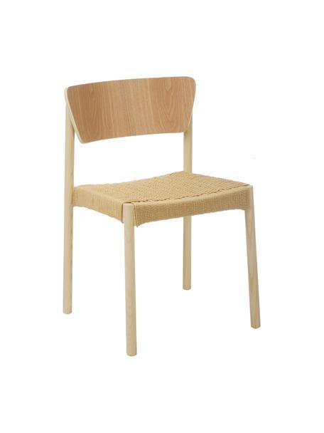 Houten stoelen Danny met rotan zitvlak, 2 stuks, Frame: massief beukenhout, Zitvlak: papier rotan, Licht hout, 52 x 51 cm