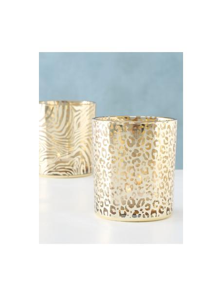 Teelichthalter-Set Tiger, 2-tlg., Glas, Goldfarben, Transparent, Ø 9 x H 10 cm
