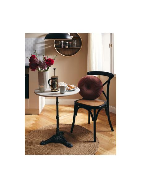 Marmeren tuintafel Loire, Tafelblad: marmer, Frame: gepoedercoat metaal, Wit, Ø 60 x H 72 cm