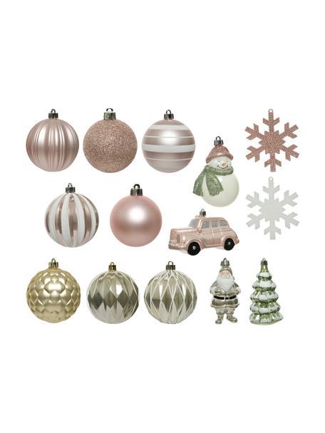 Set de adornos navideños irrompibles Mischa, 25uds., Adornos: plástico, Rosa, verde, blanco, dorado, Set de diferentes tamaños