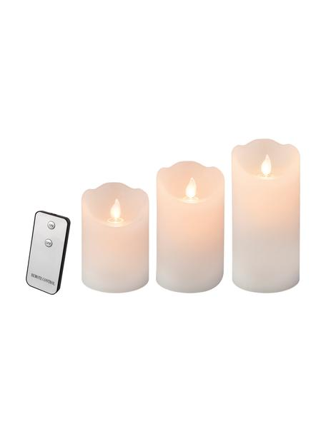 Set de velas LED Beno, 3uds, a pilas, Cera, Blanco, Set de diferentes tamaños