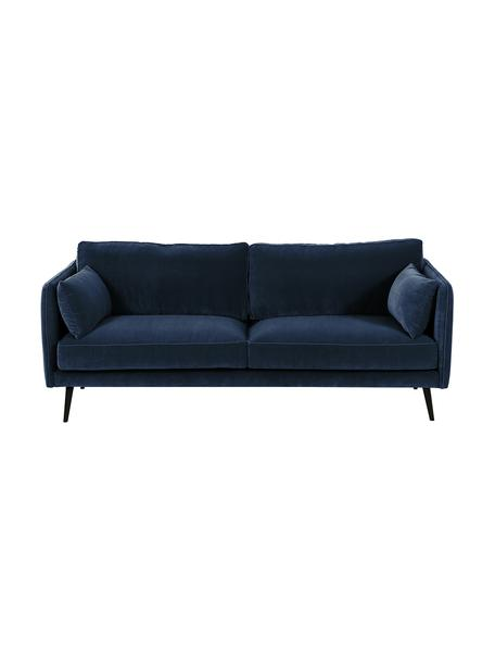Fluwelen bank Paola (3-zits) in blauw met houten poten, Bekleding: fluweel (polyester), Frame: massief vurenhout, spaanp, Poten: gelakt vurenhout, Fluweel blauw, B 209 x D 95 cm