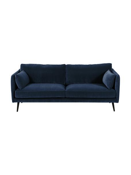 Samt-Sofa Paola (3-Sitzer) in Blau mit Holz-Füssen, Bezug: Samt (Polyester) 70.000 S, Gestell: Massives Fichtenholz, Spa, Samt Blau, B 209 x T 95 cm