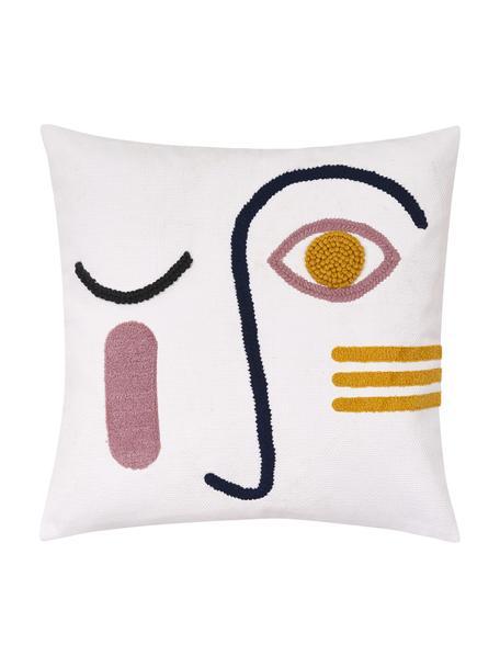 Federa arredo con ornamento Adin, Cotone, Fronte: multicolore Retro: bianco, Larg. 45 x Lung. 45 cm