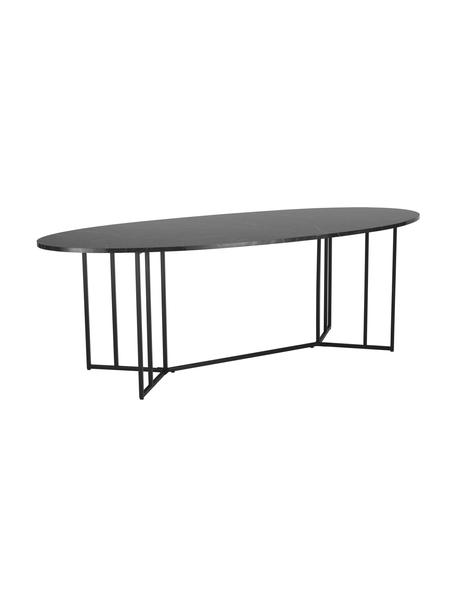 Tavolo ovale effetto marmo Luca, 240x100 cm, Piano d'appoggio: pannello di fibra a media, Struttura: metallo verniciato a polv, Nero, Larg. 240 x Prof. 100 cm