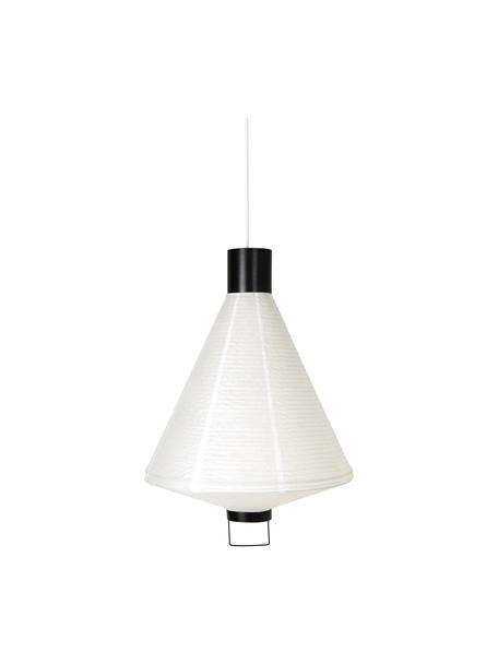 Lámpara de techo Ritta, estilo moderno, Pantalla: papel, Estructura: metal recubierto, Cable: cubierto en tela, Blanco, negro, Ø 47 x Al 68 cm