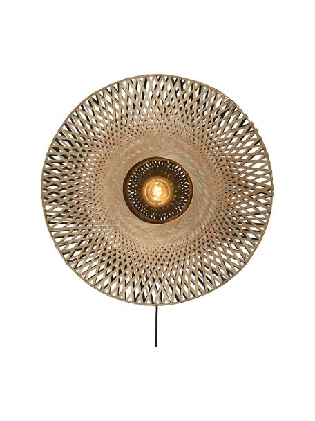 Aplique de bambú Kalimantan, con enchufe, Pantalla: bambú, Cable: forro textil, Bambú, negro, Ø 60 x F 15 cm