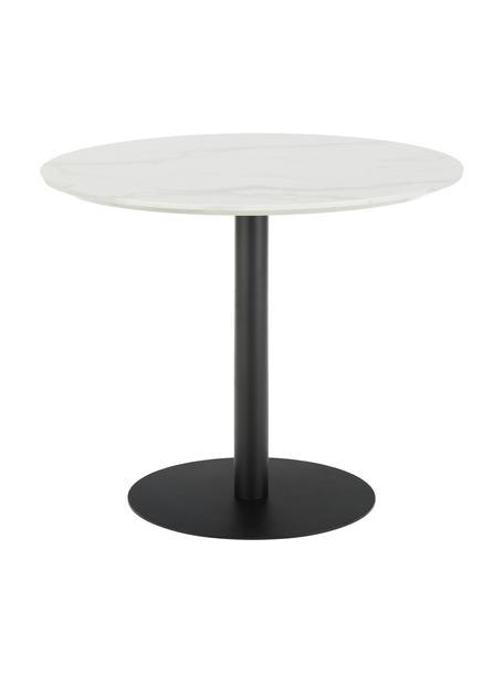 Tavolo rotondo effetto marmo Karla, Piano d'appoggio: pannello di fibra a media, Gambe: metallo verniciato a polv, Piano d'appoggio: bianco marmorizzato Tavolino da salotto: nero opaco, Ø 90 x Alt. 75 cm