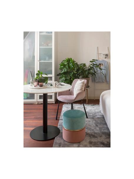 Tavolo rotondo effetto marmo bianco/nero Karla, Bianco effetto marmo, Ø 90 x Alt. 75 cm