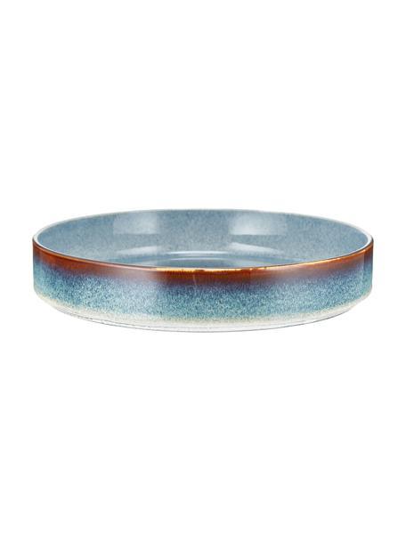 Platos hondos artesanales Quintana Blue, 2uds., Porcelana, Azul, marrón, Ø 23 cm