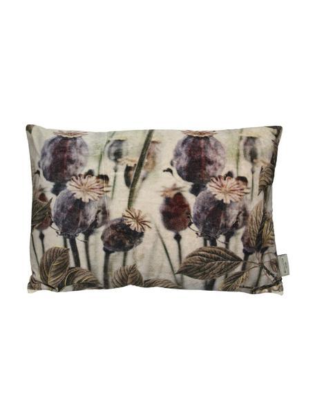 Samt-Kissen Poppy, mit Inlett, Bezug: Baumwollsamt, Beige, Grautöne, 40 x 60 cm
