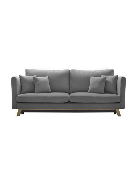 Sofa rozkładana z miejscem do przechowywania Triplo (3-osobowa), Tapicerka: 100% poliester, w dotyku , Nogi: metal lakierowany, Szary, S 216 x G 105 cm