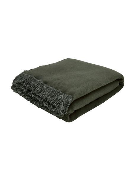 Manta suave de algodón con flecos Vienna, 85%algodón, 8%viscosa, 7%poliacrílico, Verde oscuro, An 150 x L 200 cm