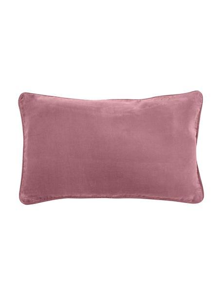 Federa arredo in velluto rosa cipria Dana, 100% velluto di cotone, Rosa cipria, Larg. 30 x Lung. 50 cm